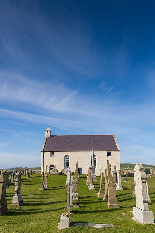 View of St Peter's Kirk, Sandwick, Bay of Skaill on mainland Orkney