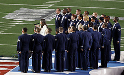 Feb 6, 2011; Arlington, TX, USA; Television actress and singer Lea Michele performs God Bless America before Super Bowl XLV between the Green Bay Packers and the Pittsburgh Steelers at Cowboys Stadium.  Green Bay defeated Pittsburgh 31-25.
