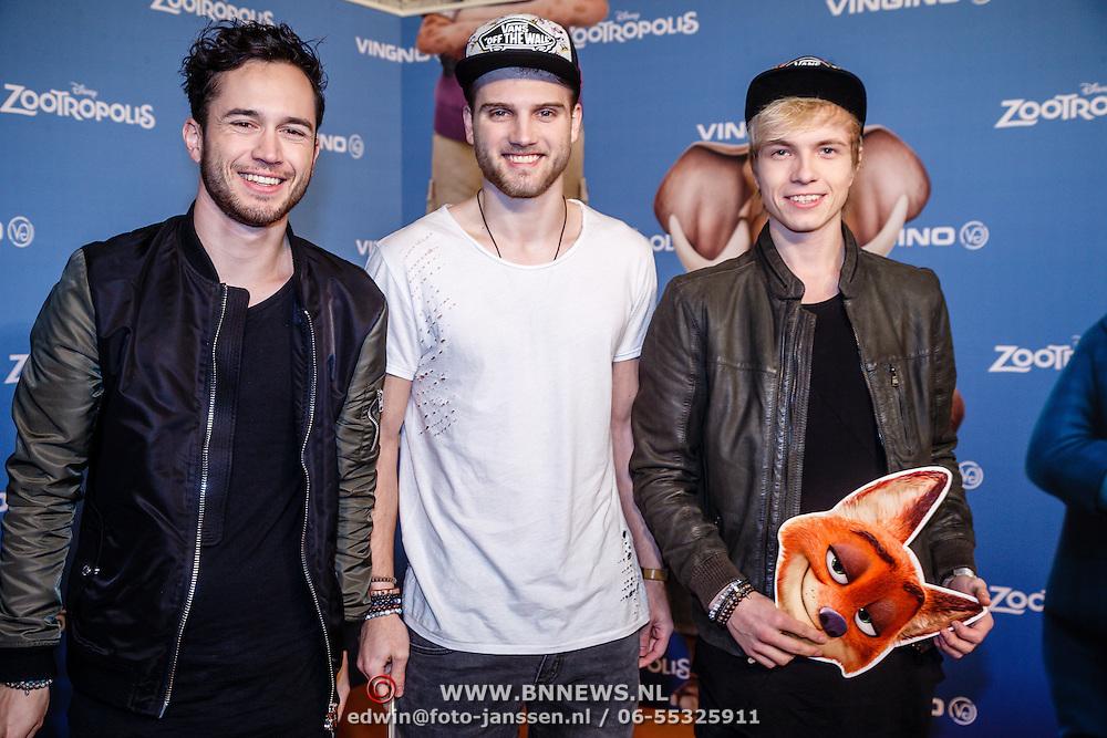 NLD/Amsterdam/20160213 - Premiere Zootropolis, Zomaer, Bart, Robin &Thomas