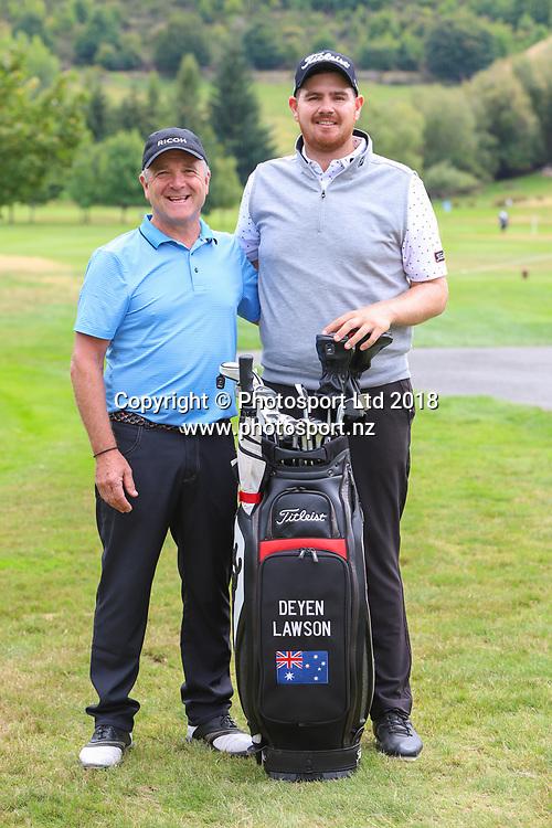 Mike Pollok & Deyen Lawson, Day 1 of the 2018 ISPS Handa New Zealand Golf Open. Millbrook golf course, Arrowtown, New Zealand. Thursday 1 March 2018. © Copyright Photo: Richard Greenfield / www.photosport.nz