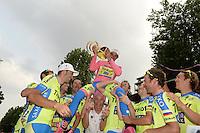 Contador Alberto avec le trophee / Tinkoff Olig - Equipe Tinkoff Saxo - 31.05.2015 - Tour d'Italie - Etape 21 : Turin / Milan <br />Photo : Sirotti / Icon Sport *** Local Caption ***