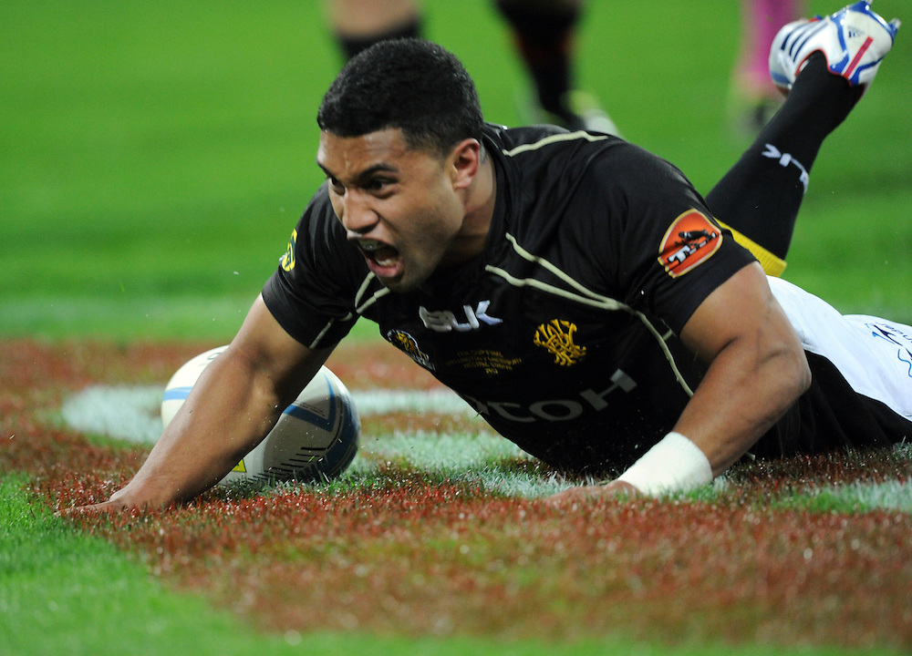 Wellingtons' Lima Sopoaga celebrates after scoring against Canterbury in the ITM Cup Rugby Premiership Final at Westpac Stadium, Wellington, New Zealand, Saturday, October 26, 2013. Credit:SNPA / Ross Setford