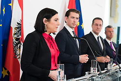27.03.2019, Bundeskanzleramt, Wien, AUT, Bundesregierung, Pressefoyer nach Sitzung des Ministerrats, im Bild Bundesministerin für Nachhaltigkeit und Tourismus Elisabeth Köstinger (ÖVP), Bundeskanzler Sebastian Kurz (ÖVP), Vizekanzler Heinz-Christian Strache (FPÖ) und Bundesminister für Verkehr, Innovation und Technologie Norbert Hofer (FPÖ) // Austrian Minister for Sustainability and Tourism Elisabeth Koestinger, Austrian Federal Chancellor Sebastian Kurz, Austrian Vice Chancellor Heinz-Christian Strache and Austrian Minister for Transport, Innovation and Technology Norbert Hofer during media briefing after cabinet meeting at federal chancellors office in Vienna, Austria on 2019/03/27 EXPA Pictures © 2019, PhotoCredit: EXPA/ Michael Gruber