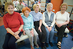 Group of older women at the ten pin bowling alley,