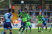 Forest Green Rovers Dan Wishart(17) heads the ball during the EFL Sky Bet League 2 match between Wycombe Wanderers and Forest Green Rovers at Adams Park, High Wycombe, England on 2 September 2017. Photo by Shane Healey.