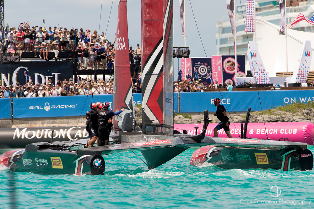 The Great Sound, Bermuda, 26th June 2017. Emirates Team New Zealand beats Oracle Team USA in the final race of the 35th America's Cup.
