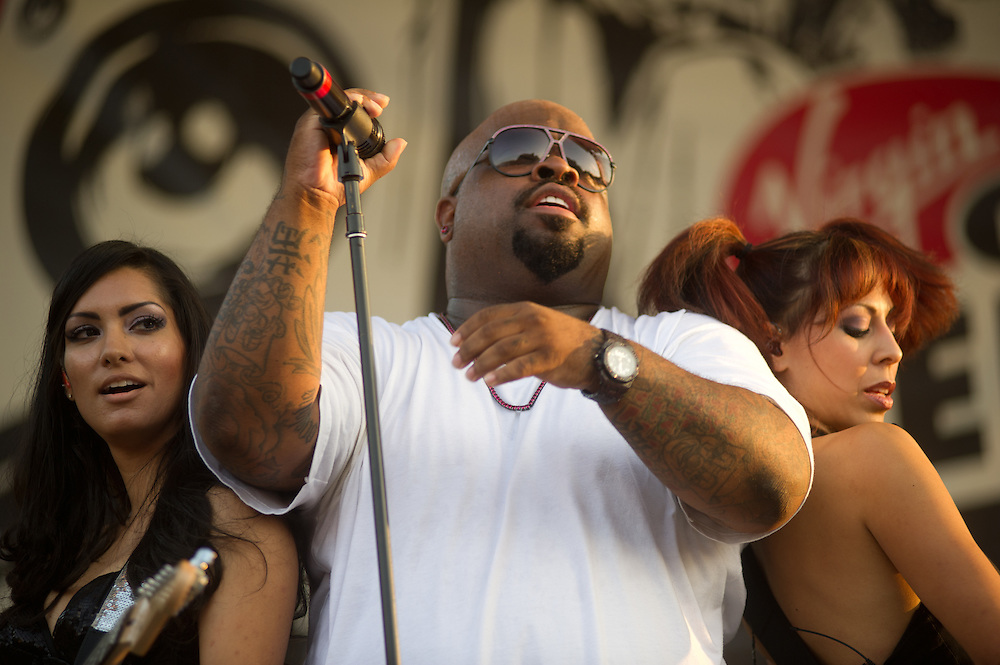 Cee Lo Green entertains the willing crowd from the West Stage.