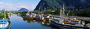 Boats docked at a harbor, Puerto Aisen, AISEN Region, Patagonia, Chile