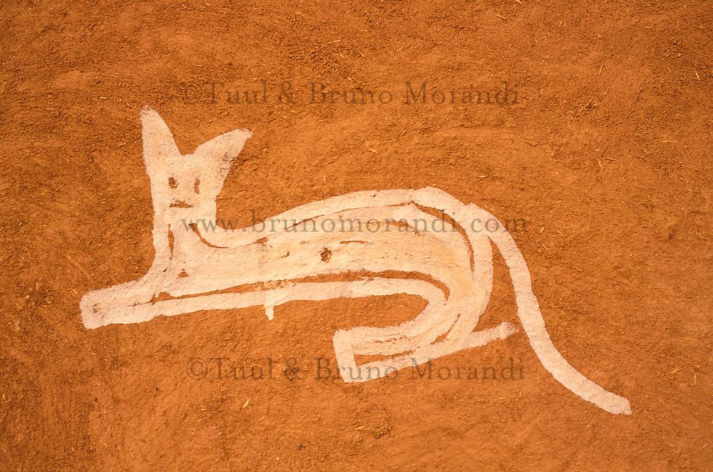 Inde - Rajasthan - Village des environs de Tonk - Peinture murale representant un tigre