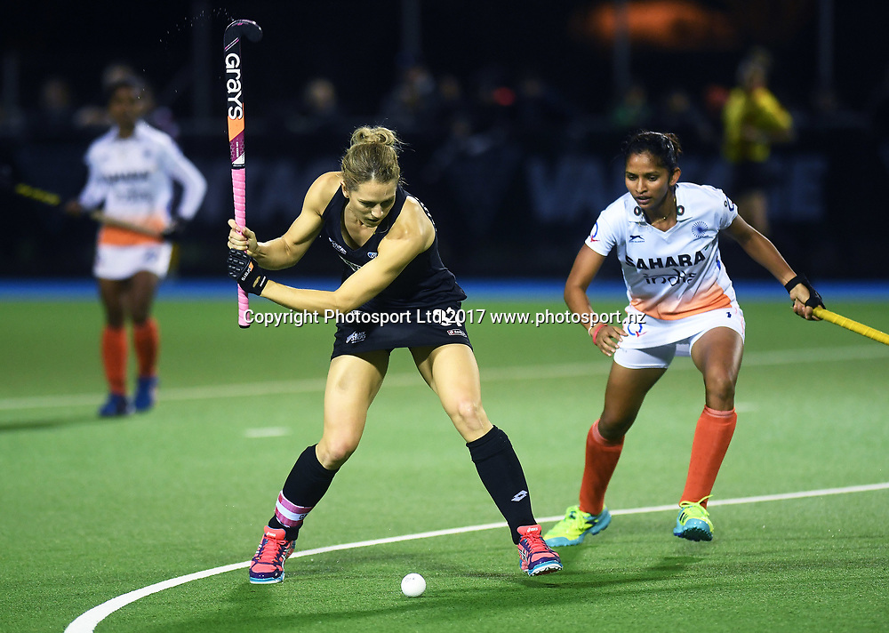 Stacey Michelsen in action.<br /> Vantage Black Sticks Women vs India. International Hockey. Rosa Birch Park, Pukekohe, Auckland, New Zealand. Wednesday 17 May 2017 &copy; Copyright Photo: Andrew Coranga / www.photosport.nz