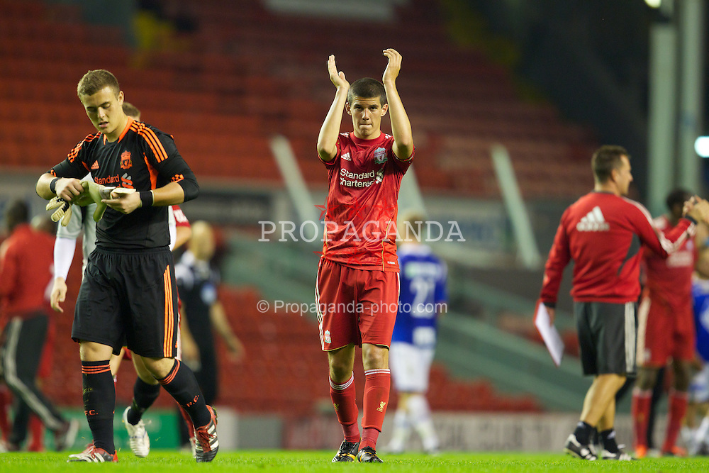 LIVERPOOL, ENGLAND - Thursday, September 29, 2011: Liverpool's captain Conor Coady after the 2-0 victory over Molde FK during the NextGen Series Group 2 match at Anfield. (Pic by Vegard Grott/Propaganda)