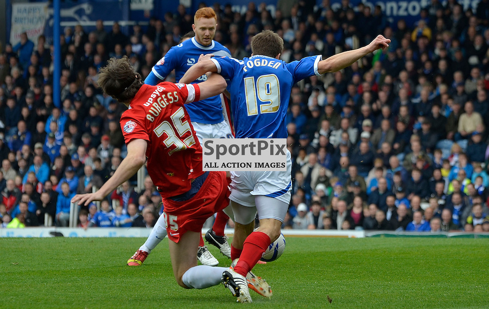 Wes Fogeon winning Portsmouth's early penalty, Portsmouth v Hartlepool, Skybet League Two, 5th April 2014. (c) Michael Hulf | SportPix.org.uk