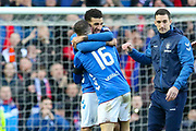 Connor Goldson (#6) of Rangers FC celebrates victory with Andy Halliday (#16) of Rangers FC during the Ladbrokes Scottish Premiership match between Rangers and Celtic at Ibrox, Glasgow, Scotland on 29 December 2018.