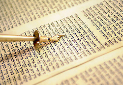 "Rabbi Marci Delbick of Temple Beth El uses a ceremonial pointer, called a ""yad,"" or hand, to read the Torah. Temple Beth El's ark is designed to house these holy writings."