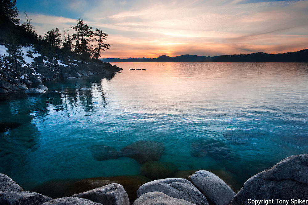 """Memorial Point Sunset 1"" - The sun sets over Memorial Point, on the Eastern shore of Lake Tahoe"
