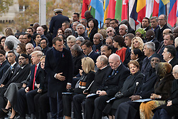 Prime Minister of Israel, Benyamin Netanyahou and his wife, Prime Minister of Canada Justin Trudeau, Morocco's King Mohammed VI and his son, first lady Melania Trump, U.S. President Donald Trump, German Chancellor Angela Merkel, Emmanuel Macron and Brigitte Macron, Russian President Vladimir Putin and Australian Governor-General Peter Cosgrove.<br /> French President Emmanuel Macron and Brigitte Macron, German Chancellor Angela Merkel, U.S. President Donald Trump, first lady Melania Trump, Morocco's King Mohammed VI, Russian President Vladimir Putin, Australian Governor-General Peter Cosgrove attend a commemoration ceremony for Armistice Day, 100 years after the end of the First World War at the Arc de Triomphe.<br /> Paris,FRANCE-11/11/2018 Photo by Jacques Witt/pool/ABACAPRESS.COM