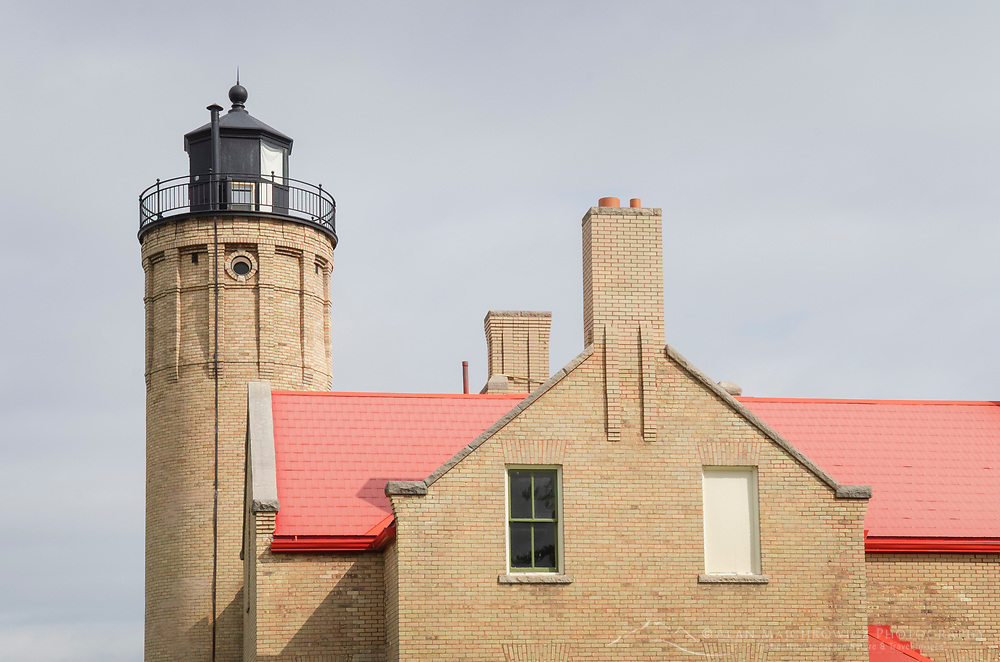 Old Mackinac Point Lighthouse seen from Mackinaw City Michigan.