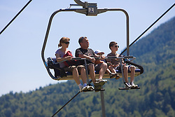 A family at slope to Vitranc, on June 14, 2009, at Kranjska Gora, Slovenia. (Photo by Vid Ponikvar / Sportida)