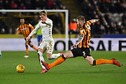 Leeds United midfielder Ezgjan Aioski (10) and Hull City defender Ondrej Mazuch (3) during the EFL Sky Bet Championship match between Hull City and Leeds United at the KCOM Stadium, Kingston upon Hull, England on 30 January 2018. Photo by Ian Lyall.