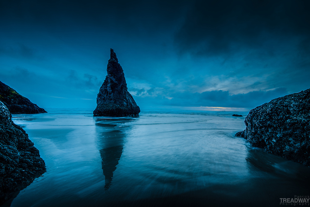 The blue hour off the beach in Bandon, Oregon.