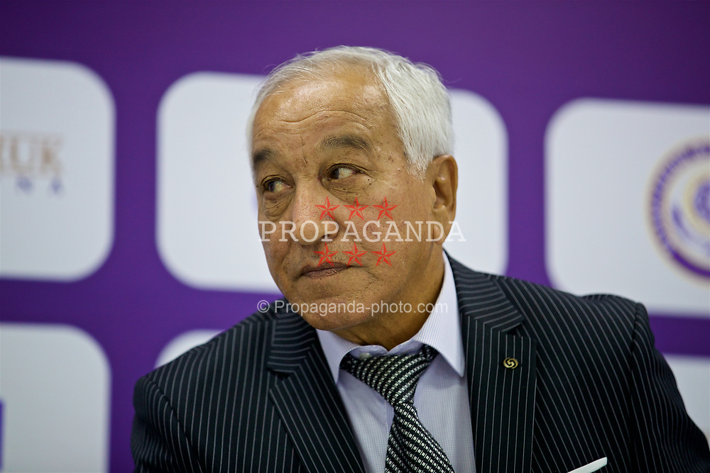 ASTANA, KAZAKHSTAN - Sunday, September 17, 2017: Kazakhstan's manager Aitpay Jamantayev during a post-match press conference following the 1-0 defeat to Wales during the FIFA Women's World Cup 2019 Qualifying Round Group 1 match between Kazakhstan and Wales at the Astana Arena. (Pic by David Rawcliffe/Propaganda)