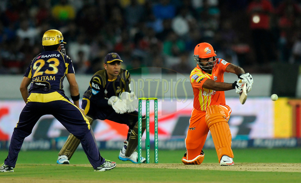 Wahab Riaz of Lahore Lions bats during match 7 of the Oppo Champions League Twenty20 between the Kolkata Knight Riders and the Lahore Lions held at the Rajiv Gandhi Cricket Stadium, Hyderabad, India on the 21st September 2014<br /> <br /> Photo by:  Pal Pillai / Sportzpics/ CLT20<br /> <br /> <br /> Image use is subject to the terms and conditions as laid out by the BCCI/ CLT20.  The terms and conditions can be downloaded here:<br /> <br /> http://sportzpics.photoshelter.com/gallery/CLT20-Image-Terms-and-Conditions-2014/G0000IfNJn535VPU/C0000QhhKadWcjYs