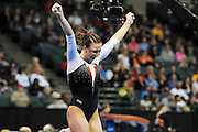 University of Utah gymnast Cortni Beers celebrates after her balance beam routine at the 2011 Women's NCAA Gymnastics Semifinals on April 15, in Cleveland, OH. (photo/Jason Miller)