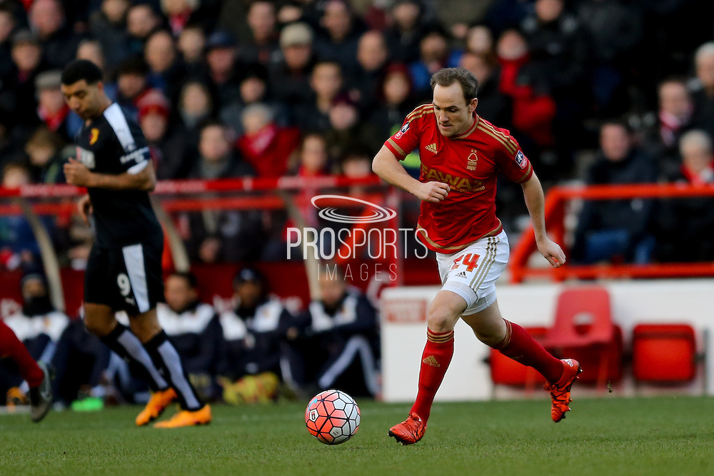 Nottingham Forest midfielder David Vaughan  during the The FA Cup fourth round match between Nottingham Forest and Watford at the City Ground, Nottingham, England on 30 January 2016. Photo by Simon Davies.