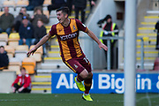 Bradford City Forward Alex Jones (19) celebrates as he scores a goal 2-0  during the The FA Cup match between Bradford City and Chesterfield at the Northern Commercials Stadium, Bradford, England on 4 November 2017. Photo by Craig Zadoroznyj.