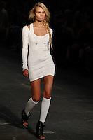 Natasha Poly walks the runway wearing Alexander Wang Spring 2010 collection during Mercedes-Benz Fashion Week in New York, NY on September 11, 2009