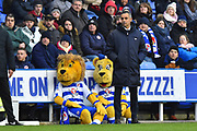 Reading manager Jose Gomes with the Reading mascots watching behibng him during the EFL Sky Bet Championship match between Reading and Aston Villa at the Madejski Stadium, Reading, England on 2 February 2019.
