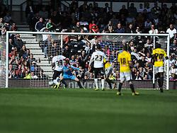 Derby Darren Bent fires in Derby Equaliser Goal  in Extra Time, Derby County, Derby County v Brentford, Sky Bet Championship, IPro Stadium, Saturday 11th April 2015. Score 1-1,  (Bent 92) (Pritchard 28)<br /> Att 30,050