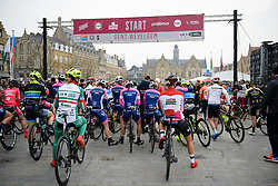 The start line at Gent Wevelgem Elite Women 2018 - a 143 km road race from Ieper to Wevelgem on March 25, 2018. Photo by Sean Robinson/Velofocus.com