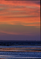 Sunshine Skyway Bridge at Dawn from Fort De Soto Park. Split print 6 of 6 images taken with a Fuji X-H1 camera and 200 mm f/2 OIS lens (ISO 400, 200 mm, f/11, 1/20 sec). Raw images processed with Capture One Pro and AutoPano Giga Pro.