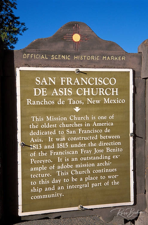 New Mexico scenic historical marker at San Francisco de Asis Mission Church, Rancho de Taos, New Mexico .