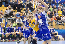 Beciri Kristian of RK Celje Pivovarna Lasko vs Canellas Reixach Joan of MOL Pick Zseged and Bombac Dean of MOL Pick Zseged  during VELUX EHF Champions League handball match between RK Celje Pivovarna Lasko vs MOL Pick Szegad on the February 10. 2019, Celje, Slovenia. Photo by Matic Ritonja / Sportida