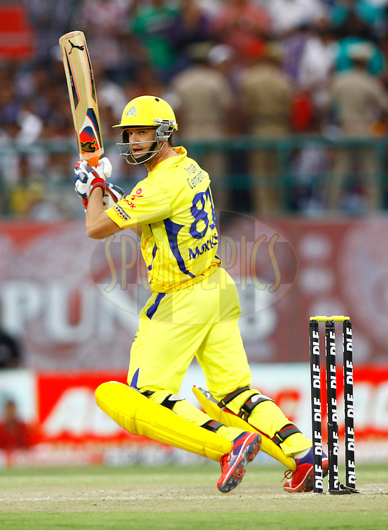 Chennai Super King player Albie Morkel play a shot during match 66 of the the Indian Premier League ( IPL) 2012  between The Kings X1 Punjab and The Chennai Superkings held at the HPCA Stadium, Dharamsala, on the 17th May 2012..Photo by Pankaj Nangia/IPL/SPORTZPICS