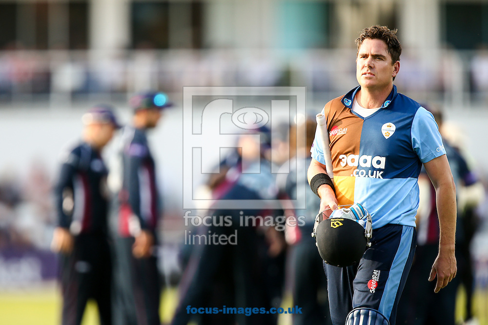 Marcus North of Derbyshire Falcons leaves the field after being dismissed during the Natwest T20 Blast match at the County Ground, Northampton<br /> Picture by Andy Kearns/Focus Images Ltd 0781 864 4264<br /> 11/07/2014