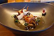 Sylt, Germany. List. Spa Resort A-Rosa Sylt. Spices Restaurant.<br /> BAK KHUT TE, 36 Stunden Schweinebauch, Reismehlnudeln, Shiitakepilze,<br />Chinakohl, Schweineniere, Knoblauch, Pfeffersud.