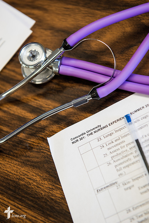 A stethoscope lays next to a worksheet in class at Concordia University on Friday, July 11, 2014,  in Portland, Ore. LCMS Communications/Erik M. Lunsford