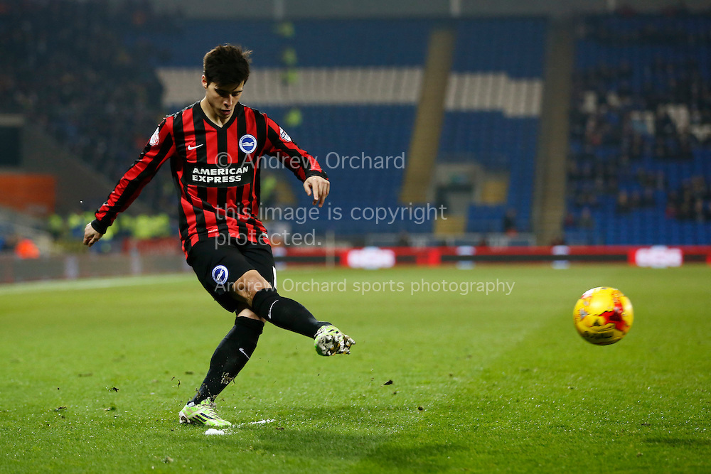 Joao Teixeira of Brighton crosses into the Cardiff penalty area.<br /> Skybet football league championship match, Cardiff City v Brighton &amp; Hove Albion at the Cardiff city Stadium in Cardiff, South Wales on Tuesday 10th Feb 2015.<br /> pic by Mark Hawkins, Andrew Orchard sports photography.