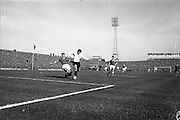 13/10/1963<br /> 10/13/1963<br /> Ireland v Austria, European Championship match at Dalymount Park, Dublin. Ireland won the game 3-2. The Irish Captain Charlie Hurley makes a sliding tackle on Austrian centre-forward Johann Buzek.