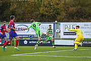 Forest Green Rovers Christian Doidge(9) shoots at goal scores a goal 1-0 during the Vanarama National League match between Forest Green Rovers and Aldershot Town at the New Lawn, Forest Green, United Kingdom on 5 November 2016. Photo by Shane Healey.