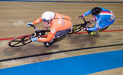 March 2, 2019 - Pruszkow, Poland - Jeffrey Hoogland of the Netherlands and Pavel Kelemen (CZE) compete in the Men's sprint qualifying race on day four of the UCI Track Cycling World Championships held in the BGZ BNP Paribas Velodrome Arena on March 02 2019 in Pruszkow, Poland. (Credit Image: © Foto Olimpik/NurPhoto via ZUMA Press)