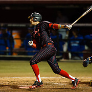 16 February 2018: San Diego State baseball opened up the season against UCSB at Tony Gwynn Stadium. San Diego State third baseman Casey Schmitt (8) hits an rbi single in the bottom of the fifth inning. The Aztecs beat the Gauchos 9-1. <br /> More game action at sdsuaztecphotos.com