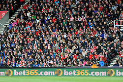 Stoke City's fans- Photo mandatory by-line: Nizaam Jones/JMP - Mobile: 07966 386802 - 24/05/2015 - SPORT - Football - Stoke - Britannia Stadium - Stoke City v Liverpool - Barclays Premier League