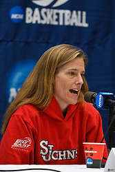 March 18, 2011; Stanford, CA, USA; St. John's Red Storm head coach Kim Barnes Arico speaks at a press conference the day before the first round of the 2011 NCAA women's basketball tournament at Maples Pavilion.