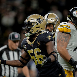 Dec 23, 2018; New Orleans, LA, USA; New Orleans Saints linebacker Demario Davis (56) celebrates after a sack against the Pittsburgh Steelers during the fourth quarter at the Mercedes-Benz Superdome. Mandatory Credit: Derick E. Hingle-USA TODAY Sports