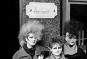 Chigwell Punk Girls outside  Harrods, London, UK, 1980s.