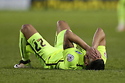Anthony Knockaert lies injured and in need of treatment during the Sky Bet Championship Play Off First Leg match between Sheffield Wednesday and Brighton and Hove Albion at Hillsborough, Sheffield, England on 13 May 2016.